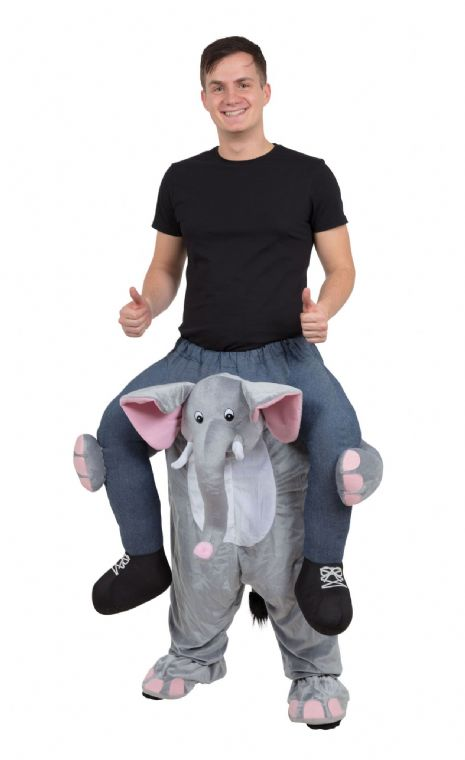 Adults Elephant Piggy Back Costume Zoo Jungle Ellie Fancy Dress Outfit